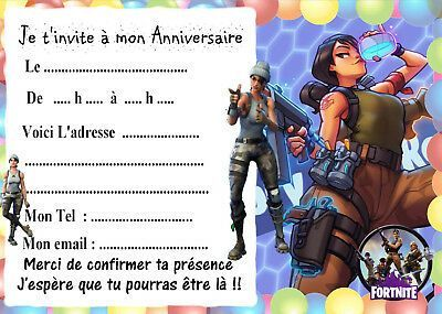 Invitation Anniversaire Fortnite