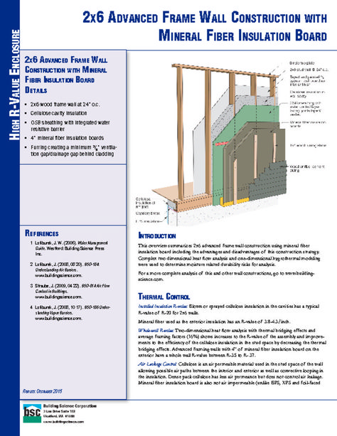 Etw Wall 2x6 Advanced Frame Wall Construction With Mineral Fiber Insulation Board Building Science Corpor Fiber Insulation Insulation Board Frames On Wall