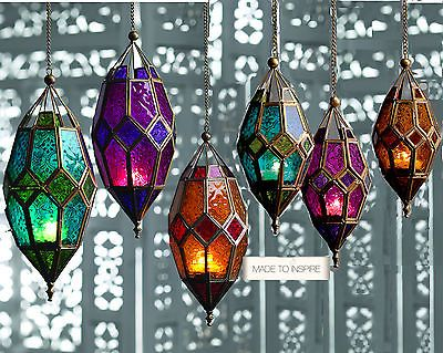 MOROCCAN HANGING COLOURED GLASS LANTERN (TEA LIGHT HOLDER), COLOUR & SIZE CHOICE