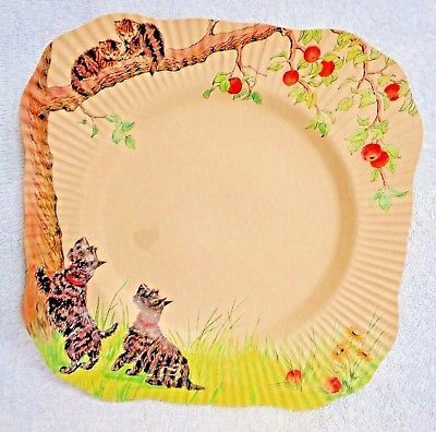 Scotty Scottie Dog Sits With Young Lady Red Square Edge Vintage Paper Plate