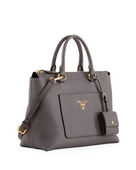 5e499322f14d0f Vitello Daino Zip Pebbled Leather Tote Bag, Gray | bags on deck ...