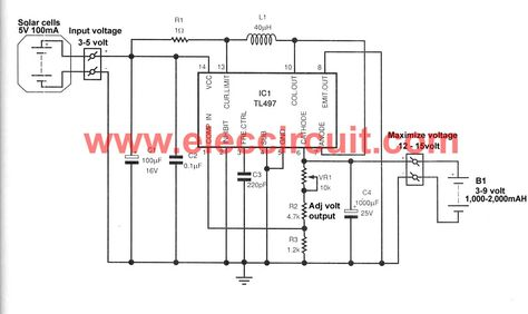 Make Solar AA Battery Charger Circuit Using TL497 ... on