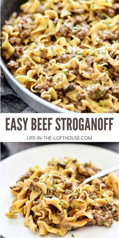 This Easy Beef Stroganoff recipe is a classic dish the whole family will love. It's filled with ground beef and a mushroom sauce served over egg noodles. It is delicious!
