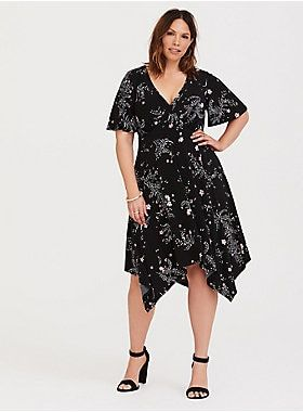 Black Floral Jersey Knit Skater Dress | Torrid Wish List | Pinterest ...