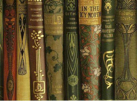 Vintage books with gorgeous art nouveau graphics Art Nouveau, Vintage Book Covers, Vintage Books, Vintage Library, Vintage Comics, Old Books, Antique Books, Victorian Books, Book Spine