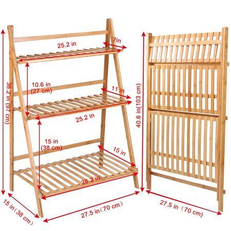 Natural Bamboo Plant Display Stand Solid Wood Potted Flower Storage Rack With 9 Shelves 5 Tier Image 7 Of 7 Wood Pots Bamboo Plants Wooden Plant Stands