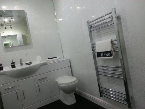 4 White Sparkle Diamond Effect Pvc Bathroom Cladding Shower Wall Panels Amazon Co Uk Kitchen Bathroom Cladding Bathroom Shower Panels Pvc Bathroom Cladding