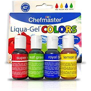 Chefmaster Liqua Gel Food Coloring Set (4-Pack), All Natural ...