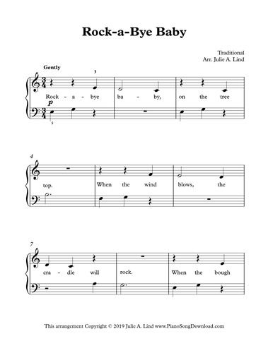 Rock A Bye Baby Free Easy Traditional Piano Sheet Music For
