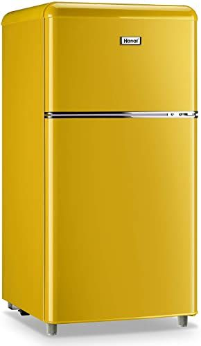 Enjoy Exclusive For Wanai Compact Refrigerator 3 2 Cu Ft Classic Retro Refrigerator 2 Door Mini Refrigerator Adjustable Remove Glass Shelves Refrigerator Suitab In 2020 Retro Refrigerator Compact Refrigerator Glass Shelves