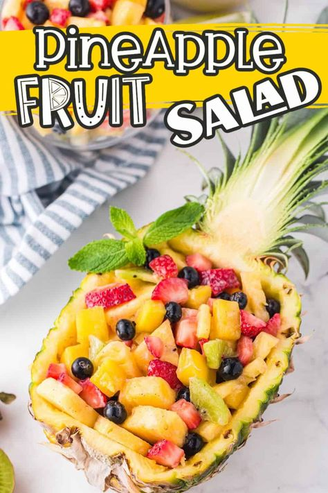 This fruit salad recipe is light and tangy, the perfect side or snack for a summer day. A delicious blend of pineapple, strawberries, blueberries, mango, and kiwi, plus a sweet homemade Honey Lime dressing with just a touch of coconut!