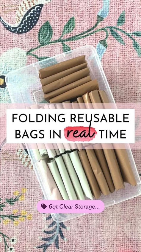 Folding reusable bag in real time - eco friendly living - organized kitchen