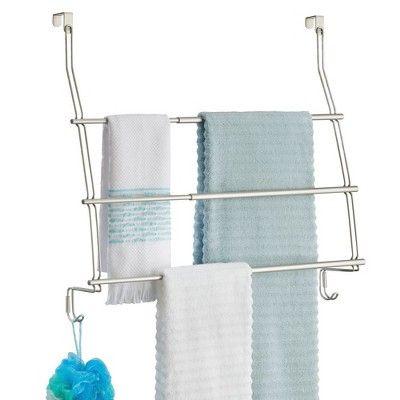 Expandable Over The Door Towel Rack Hook Silver Threshold In 2020 Towel Rack Over The Door Hooks Door Hooks