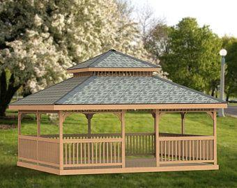 Garden Gazebo Building Plans I Hip Roof 12 X 20 Etsy In 2020 Shed Building Plans Gazebo Plans Building A Shed