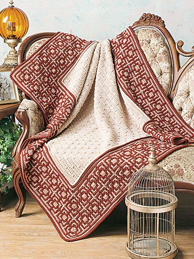 This beautiful afghan is made using 16 oz beige, 12 oz light brown and 12 oz dk brown worsted-weight yarn and a size J/10/6mm crochet hook. Size: 55W x 65L.