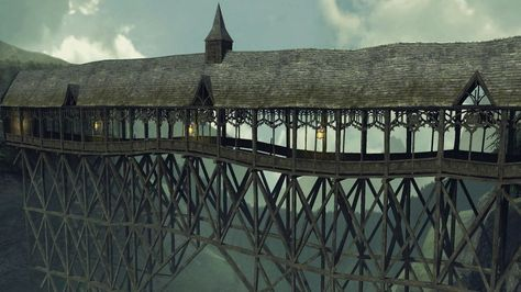 The Covered Bridge is a feature of Hogwarts Castle. The bridge appears derelict, and is constructed of wood beams which extend to the floor of the ravin.