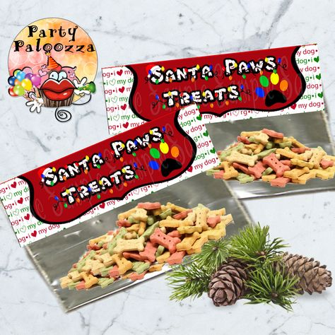 Printable Christmas Dog Treat bag topper by PartyPaloozza on Etsy