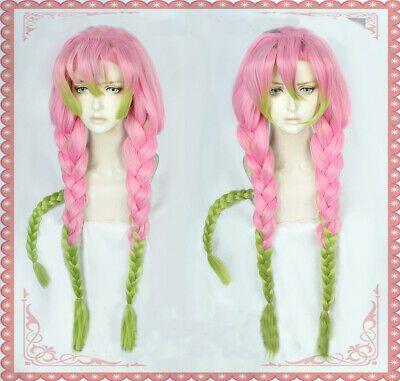 Ad Kanroji Mitsuri Cosplay Wig Demon Slayer Kimetsu No Yaiba Anime Wig Pink Green Anime Wigs Cosplay Wigs Green Wig