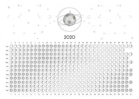 Moon Calendar 2020 Northern Hemisphere White Stock Vector