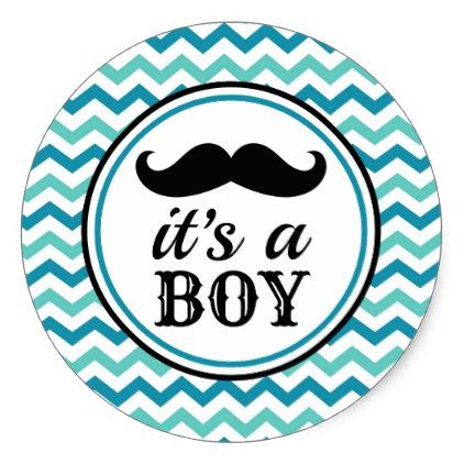 Mustache Little Man Baby Shower Stickers Boy Zazzle Com