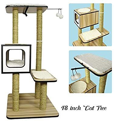 Eachpole Partysaving Petpalace Deluxe Cat Tree Condo With Scratching Posts And Pads 48 Inch Wood Condo Cat Tree Condo Condo Furniture Cat Tree