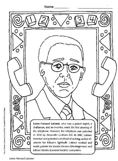 Lewis Howard Latimer Coloring Page Black History Month Crafts Black History Printables Black History Month Activities