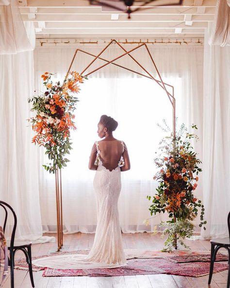 Creative Wedding Arch Rentals Available To Dallas Fort Worth Eclectic Summer Wedding At Brik Venue Restored Warehouse Venue In Texas Geometric Wedding Wedding Inspiration Wedding Planner