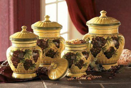 Amazon Com Tuscany Grapes 4pc Canisters Kitchen Decor Set Home