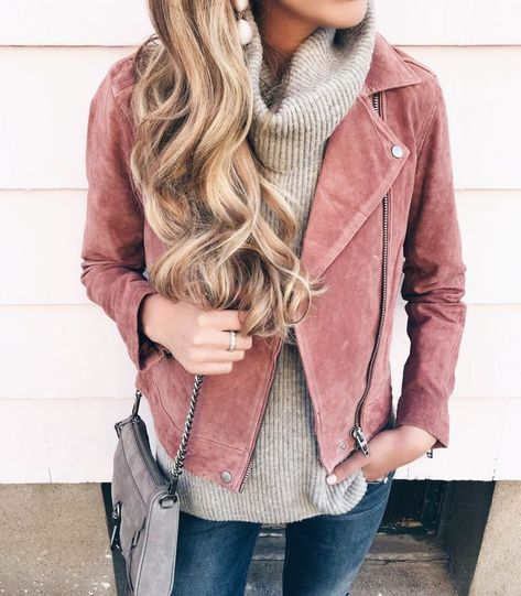 blush pink suede moto jacket outfit idea