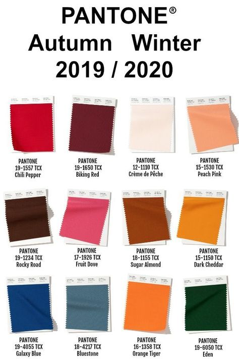Pantone New York Color Palette for Fall/Winter 2019/2020. Each season the team a...