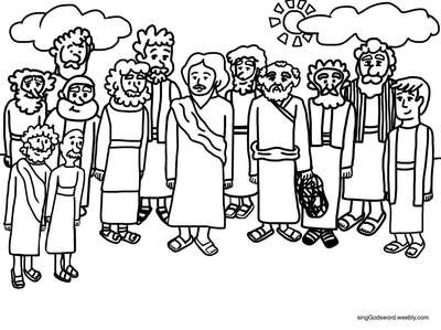 Free Coloring Sheet Of Jesus And His 12 Apostles For More Free