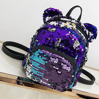 a2fc5f1fa78 Fashion Women Girls Sequins Mini Backpack Travel School Bag Backpack ...