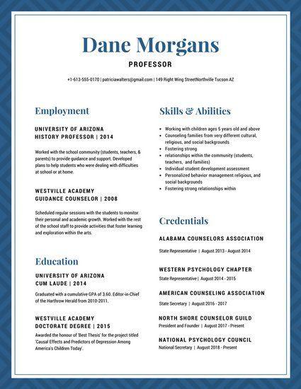 Blue White Border Classic Pattern Academic Resume Teacher Resume Template Resume Resume Templates