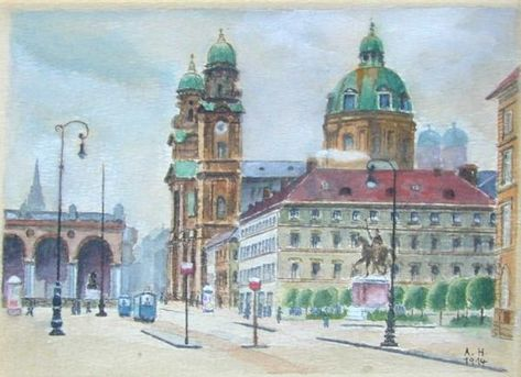 "Very Odd Feeling to Look at this painting.... It is Nice But Not really good, and a bit naive... Munich ""Oedensplatz"" (1914)"