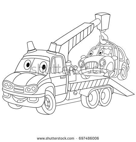 Coloring Page Of Cartoon Tow Truck Evacuator With A Broken Car