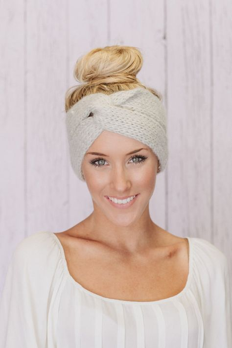 Knitted Headband Ear Warmer Grey Twist Turband by ThreeBirdNest, $28.00