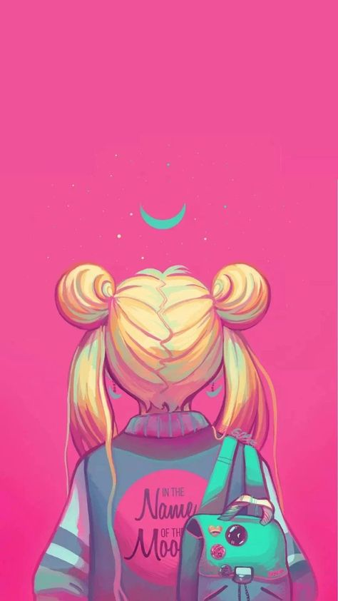 Sailor Moon painting, neon pink, in the nakme of the moon ,  #Moon #nakme #Neon #painting #pink #sailor
