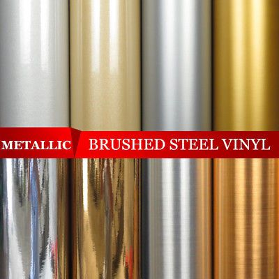 Metallic Mirror Glitter Brushed Steel Chrome Sign Vinyl Wrap Film Self Adhesive Metallic Wallpaper Gold Paper Adhesive