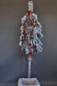 Sztuczna Biala Choinka Na Pniu Ubrana Christmas Flowers Plants