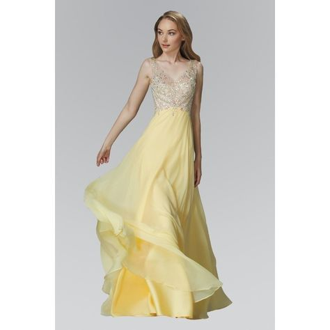 ELizabeth K GL2116P Bead Embellished V-neck Bodice Floor Length... ($190) ❤ liked on Polyvore featuring dresses, gowns, yellow ball gown, beaded evening dresses, yellow evening dress, chiffon evening dresses and beaded evening gowns
