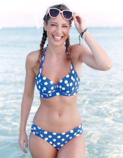 Blue and white polka dot bikini