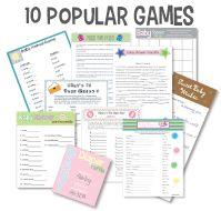 Top 10 Printable Baby Shower Games Baby Shower Bingo Diaper Raffle Word Scramble...