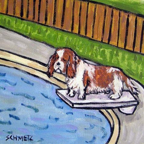 King Charles Cavalier Spaniel at the Wine Bar Dog Art coaster tile Gift