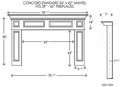 Concord Fireplace Mantel Standard Sizes Fireplace Dimensions Wood Fireplace Fireplace Mantels