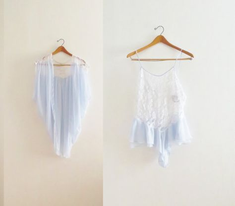 Vintage two-piece lingerie, 80s 90s plus size white lace pastel Delphite blue chiffon high waist romper cape matching set floral bridal L XL