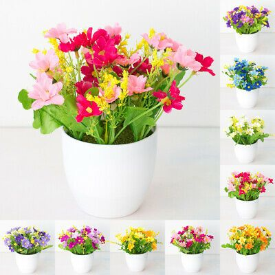 Artificial Chrysanthemums Flowers Potted Plant Fake Bonsai Home Garden Decor Ebay In 2020 Fake Plants Decor Artificial Potted Plants Indoor Flowers