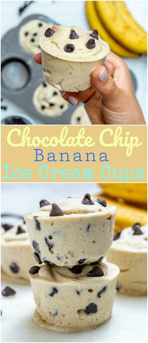 "Chocolate Chip Banana ""Ice Cream"" Cups for Summertime Fun! Healthy Chocolate Chip Banana ""Ice Cream"" Cups for Summertime Fun! - Clean Food CrushHealthy Chocolate Chip Banana ""Ice Cream"" Cups for Summertime Fun! Delicious Desserts, Dessert Recipes, Yummy Food, Yummy Easy Snacks, Easy Snacks For Kids, Snacks Recipes, Fast Recipes, Health Recipes, Crockpot Recipes"