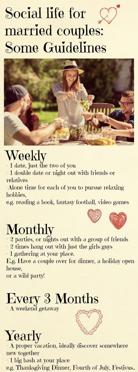 Yearly social calendar for couples