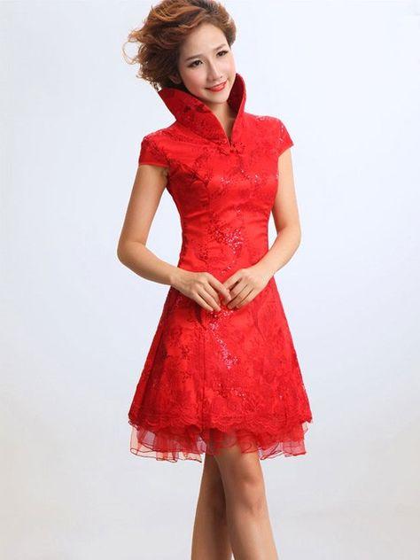 Vestiti Cerimonia Cinesi.Stand Up Collar Cheongsam Qipao Chinese Bridesmaid Wedding