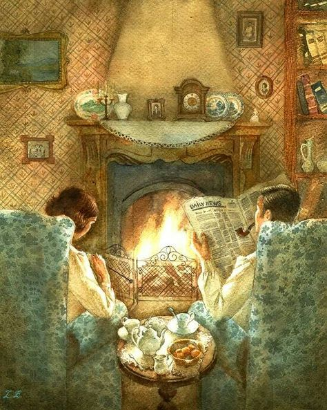 EVENING TIME.  A fireplace and tea table with two comfy chairs.  So cozy